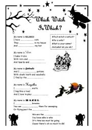 English Worksheet: Which witch is which song