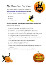 English Worksheet: Video: Halloween History (True or False)