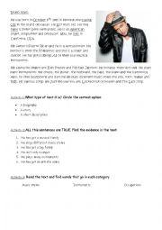 English Worksheet: Bruno Mars Biography