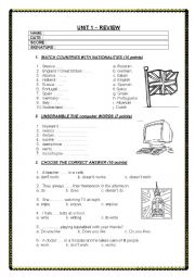 English Worksheet: self-evaluation test