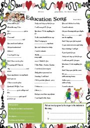 English Worksheet: education song by Bruno Mars