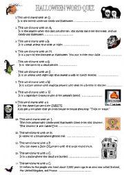 Halloween word quiz