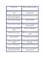 English Worksheet: reported speech at a party speaking game