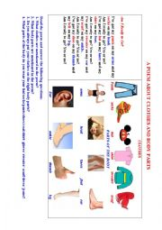 English Worksheet: CLOTHES  (A poem + a Pictionary + Questions to discuss)