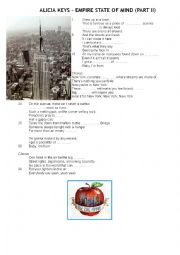 English Worksheet: Alicia Keys, Empire State of Mind