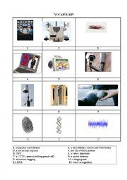 English Worksheet: spying gadgets vocabulary worksheet