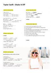 English Worksheet: Taylor Swift    �shake it off�