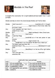 English Worksheet: Modals in the past