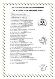 English Worksheet: ask questions for the answers