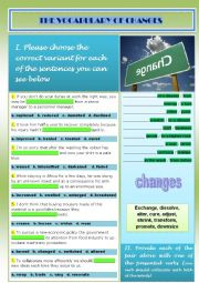 English Worksheet: vocabulary_changes