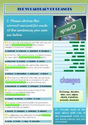English worksheet: vocabulary_changes