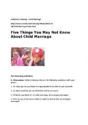English Worksheet: Academic Listening - Child Marriage