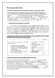 English Worksheet: Mid term test n�1 for the 9th forms