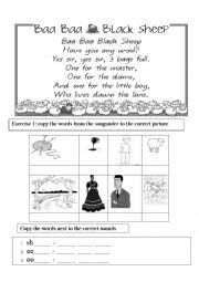 English Worksheet: Baa Baa Black Sheep - Nursery Rhyme -