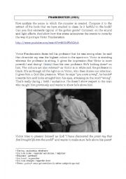 English Worksheet: Study of the movie Frankenstein (1931)