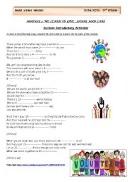 English Worksheet: Module 2: We learn to give, share and care/ Section1