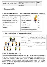 English Worksheet: mid-term test n�1