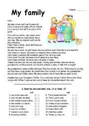 family reading comprehension with exercises esl worksheet by mariong. Black Bedroom Furniture Sets. Home Design Ideas