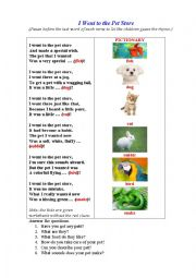 English Worksheet: PET STORE (A riddle-poem for kids to guess the pets by their descriptions)