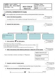 English Worksheet: Mid-term test 1 3rd form