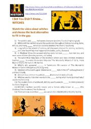 English Worksheet: Halloween-related video: I Bet You Didn�t Know� WITCHES
