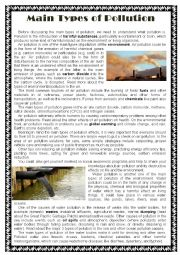 English Worksheet: Main Types of Pollution -(Gerund and Infinitive)
