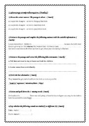 English Worksheet: listening test about family life