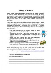 English worksheets: Reading Comprehension Energy Efficiency
