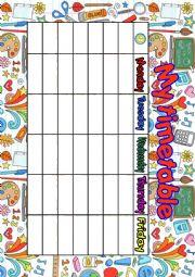 English Worksheet: my timetable