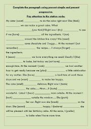 English Worksheet: Stative verbs exercise