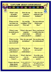 English Worksheet: Let�s talok about celebrations - speaking cards