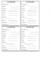 English Worksheet: Scattergories