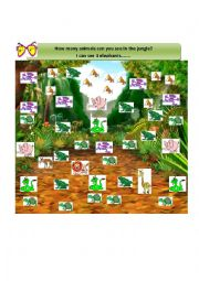 English Worksheet: How many animals can you see in the jungle?