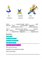English Worksheet: comparing people ( for kids)