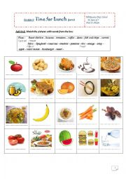 English Worksheet: time for lunch seventh form