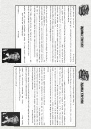 English Worksheet: Agatha Christie- Pair work activity