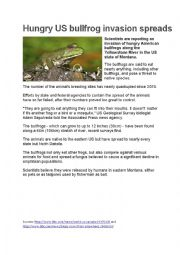 English Worksheet: 2 news articles and reading comprehension questions about animals: bullfrogs and democracy dogs