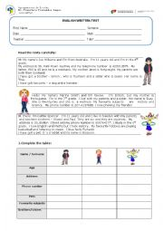 English Worksheet: test 6th form