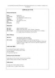 English Worksheet: CV exercise