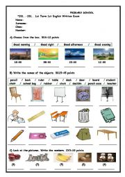 English Worksheet: 4th grade exam paper