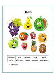English Worksheet: FRUITS CUT AND PASTE
