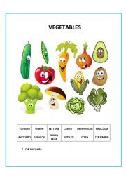 English Worksheet: VEGETABLES CUT AND PASTE