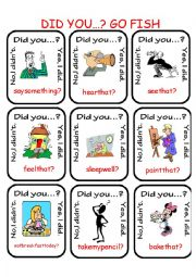 English Worksheet: Did you...?  Go Fish