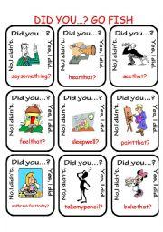 English Worksheet: Did you...?  Go Fish