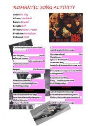 English worksheet: Romantic Song Activity