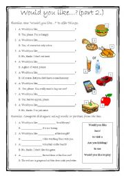 English Worksheet: Would you like...? part 2.