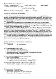useful exam for third year student according to the Algerian cirriculum