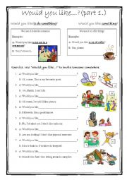 English Worksheet: Would you like...? part 1.