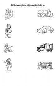 English Worksheet: community Helpers matching activity