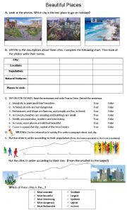 English Worksheet: COMPARING PLACES - listening + writing